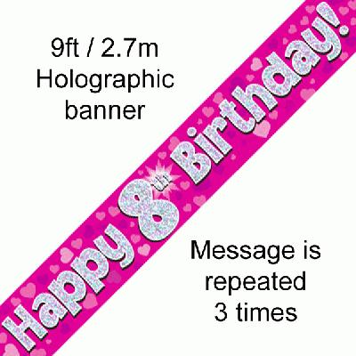 8th Birthday Pink Banner