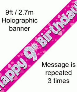 9th Birthday Pink Banner