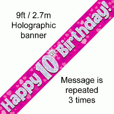 10th Birthday Pink Banner