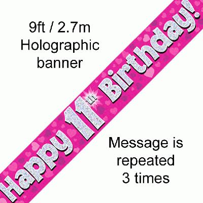 11th Birthday Pink Banner