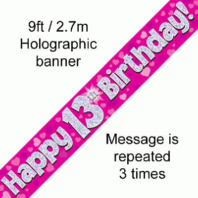 13th Birthday Holographic Pink Banner
