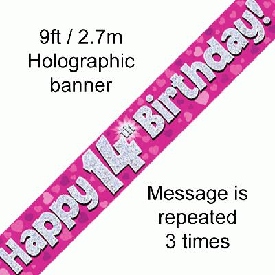 14th Birthday Holographic Pink Banner