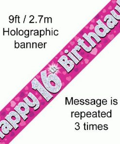 16th Birthday Holographic Pink Banner
