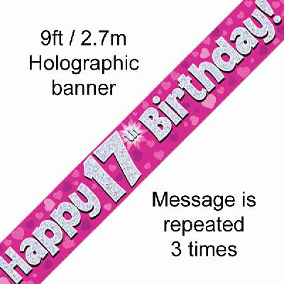 17th Birthday Holographic Pink Banner
