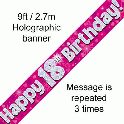 18th Birthday Holographic Pink Banner