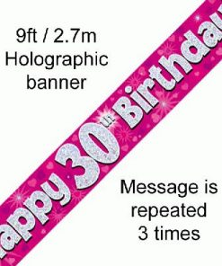 30th Birthday Holographic Pink Banner