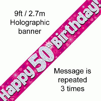 50th Birthday Holographic Pink Banner