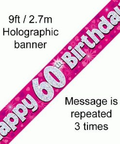 60th Birthday Holographic Pink Banner