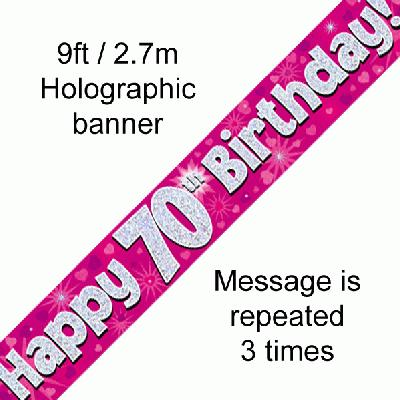 70th Birthday Holographic Pink Banner