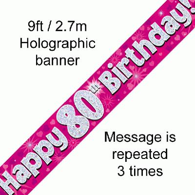 80th Birthday Holographic Pink Banner