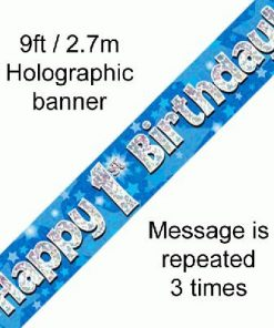1st Birthday Blue Banner