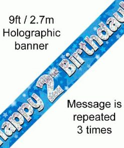 2nd Birthday Blue Banner