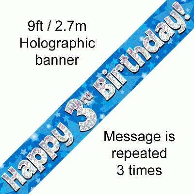 3rd Birthday Blue Banner