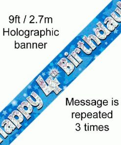 4th Birthday Blue Banner