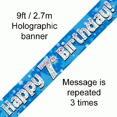 7th Birthday Blue Banner