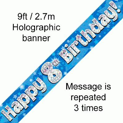 8th Birthday Blue Banner