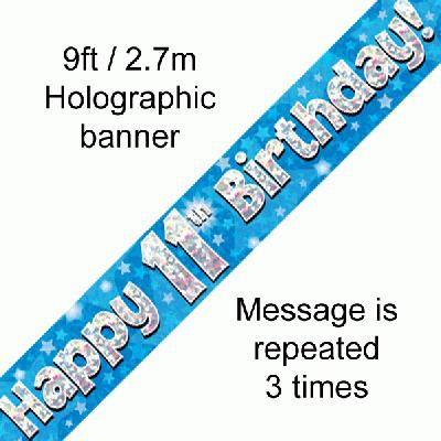 11th Birthday Blue Banner