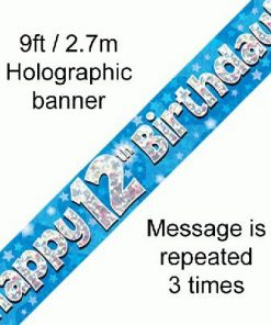 12th Birthday Blue Banner