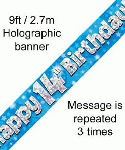 14th Birthday Holographic Blue Banner