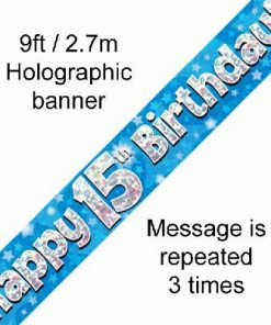 15th Birthday Holographic Blue Banner