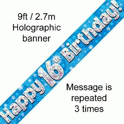 16th Birthday Holographic Blue Banner