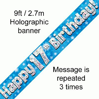 17th Birthday Holographic Blue Banner