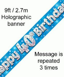 40th Birthday Holographic Blue Banner