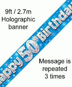50th Birthday Holographic Blue Banner