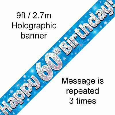 60th Birthday Holographic Blue Banner