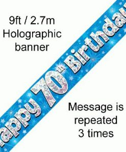 70th Birthday Holographic Blue Banner