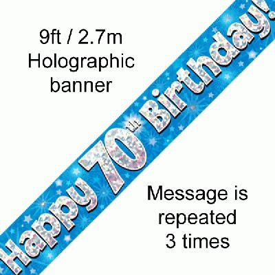70th Birthday Holographic Blue Banner Sittingbourne Balloons