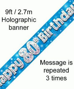 80th Birthday Holographic Blue Banner