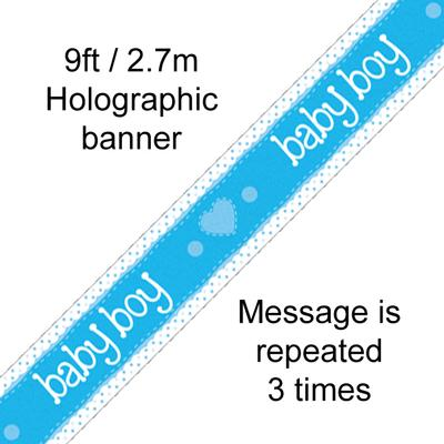 9ft Baby Boy Holographic Banner