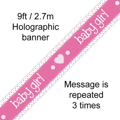 Baby Girl Holographic Banner