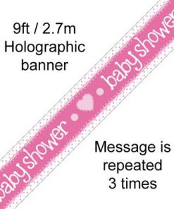 Baby Shower Pink Holographic Banner