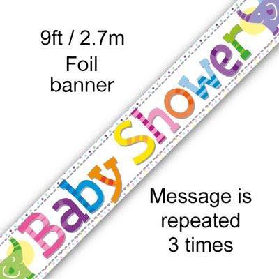 Baby Shower Elephants 9ft Banner