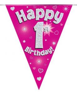 Party Bunting Happy 1st Birthday Pink Holographic 11 flags 3.9m