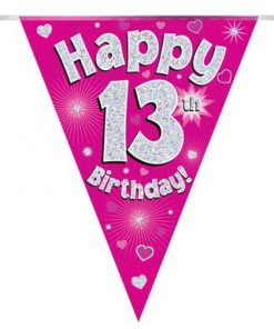 Party Bunting Happy 13th Birthday Pink Holographic