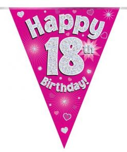 Party Bunting Happy 18th Birthday Pink Holographic