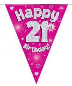 Party Bunting Happy 21st Birthday Pink Holographic