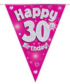 Party Bunting Happy 30th Birthday Pink Holographic