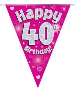 Party Bunting Happy 40th Birthday Pink Holographic