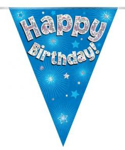 Party Bunting Happy Birthday Blue Holographic