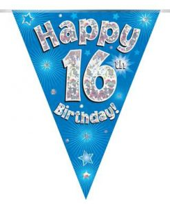Party Bunting Happy 16th Birthday Blue Holographic