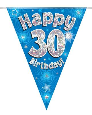 Party Bunting Happy 30th Birthday Blue Holographic