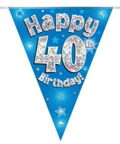 Party Bunting Happy 40th Birthday Blue Holographic
