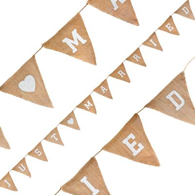 Natural Hessian Bunting Just Married