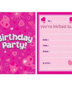 Pink Happy Birthday Invitations