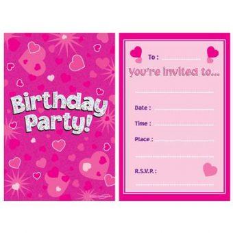 Pink Happy Birthday Invitations
