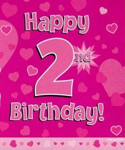Pink 2nd Birthday Luncheon Napkins